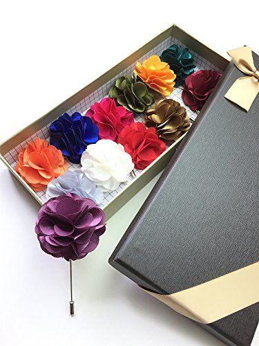 Unibuy Men's Lapel Pin Set with Handmade Flower Boutonniere For Suit (Gift Box Of 12) Boutonniere Pin