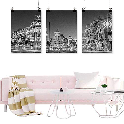 J Chief Sky Black and White,Art Prints Triptych Madrid City at Nighttime in Spain Main Street Ancient Architecture Wall hangings W24 x L48 -