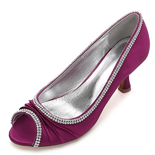 yc Satin Encaje Purple L De Heel Costura Diamantes Mujeres Boda Las Toe Zapatos Peep 8dqdwU