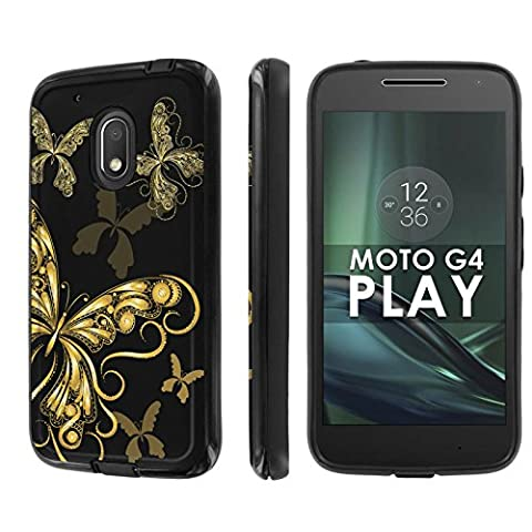 Motorola Moto G Play [4th Gen] Phone Case [NakedShield] [Black/Black] Dual Armor ShockProof Case - [Butterfly Floral] for Moto [G4 (Motorola G Glass Covers)