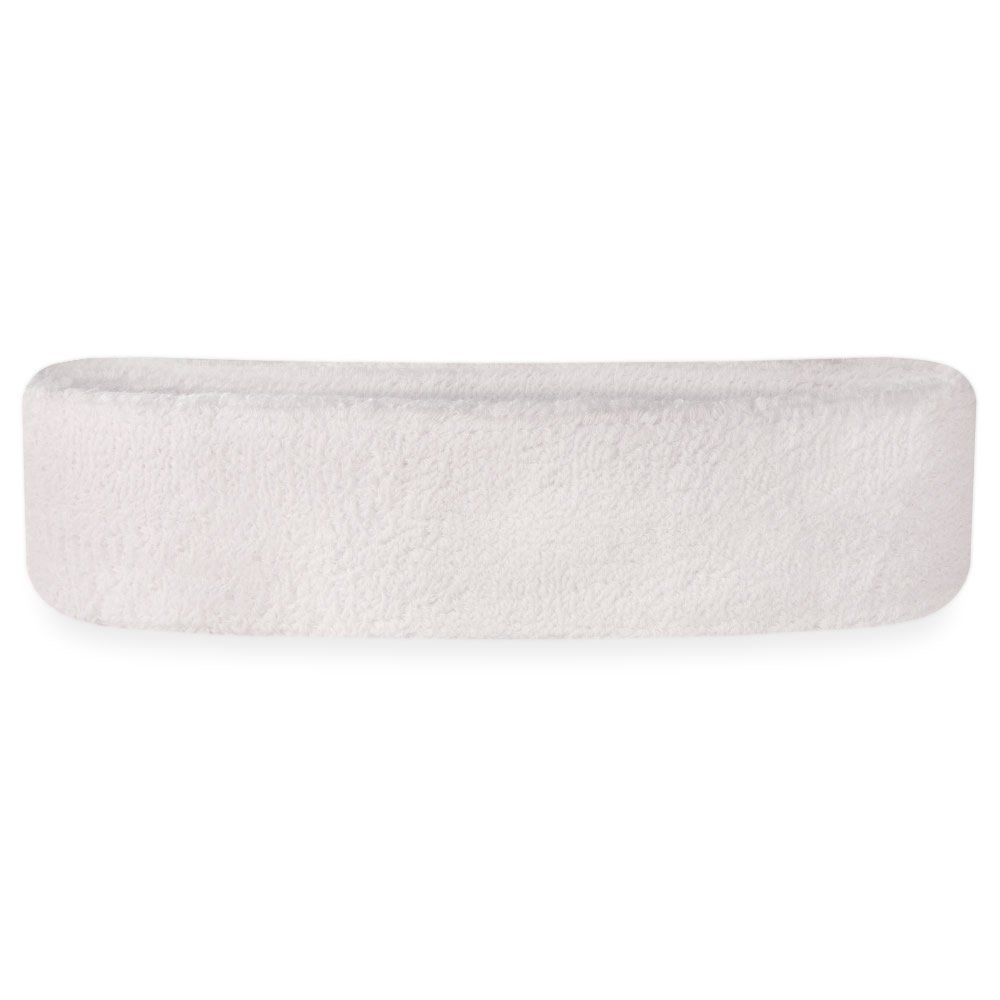 Suddora Head Sweatbands - Athletic Cotton Terry Cloth Headbands for Sports (White) by Suddora