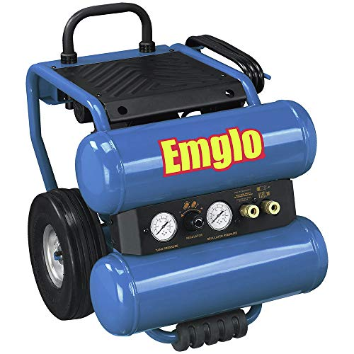 Emglo EM810-4MR 1.1 HP 4 Gallon Oil-Lube Dolly-Style Twin Stack Air Compressor (Certified Refurbished)
