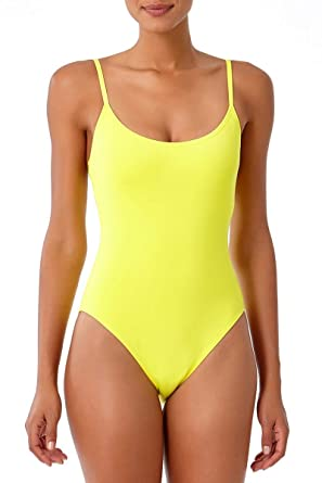 0a0f89ed16e Anne Cole Studio Women's Vintage Lingerie Maillot One Piece Swimsuit-4-Lemon  Yellow