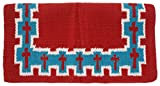 Tough 1 4 lb Wool Saddle Blanket Crosses Design, Red/Teal/White