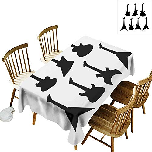 Rock Music Rectangular tablecloths in a variety of colors and sizes Can be used for parties Various Guitar Silhouettes Acoustic Electronic Bass Abstract String Instruments W60 x L126 Inch Black Whit
