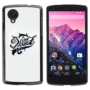 GOODTHINGS Funda Imagen Diseño Carcasa Tapa Trasera Negro Cover Skin Case para LG Google Nexus 5 D820 D821 - la vida salvaje loco negro blanco texto yay