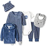 Carter's Boys' 6-Piece Terry Cardigan and Sleep and Play Set, Navy Bear, 3 Mo...
