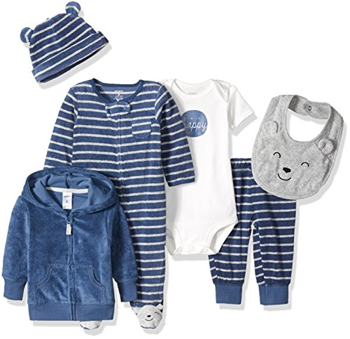 Carter's Boys' 6-Piece Terry Cardigan and Sleep and Play Set, Navy Bear, 6 Months