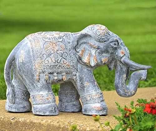TisYourSeason Boho Elephant Statue Magnesium Indoor/Outdoor Lawn Ornaments Garden Decor