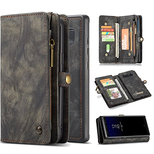 Galaxy Note 8 Case, Harsel 11 Card Slot [Magnetic Closure] Detachable Leather Wallet Purse Case with Zipper Pocket Removable Protective Hard PC Cover for Galaxy Note 8 (Black)