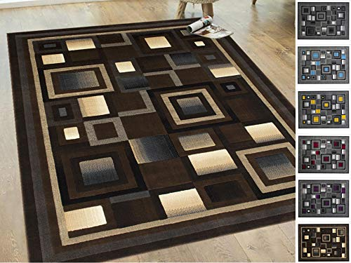(Handcraft Rugs Chocolate Brown/Beige/Gold/Gray Abstract Geometric Modern Squares Pattern Area Rug 5 ft. by 7 ft.)