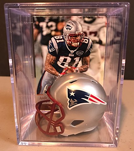 Used, New England Patriots NFL Helmet Shadowbox w/ Aaron for sale  Delivered anywhere in USA