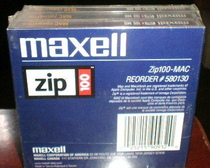*NEW SEALED* Mac Formatted Zip Disks 3 PACK - 100MB - Item #580130
