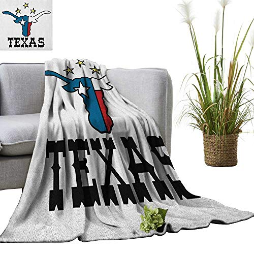 - Superlucky Texas Star Digital Printing Blanket Doodle Style Buffalo Head with Horns Texas Flag and Vintage Letters Cowboy Theme 36
