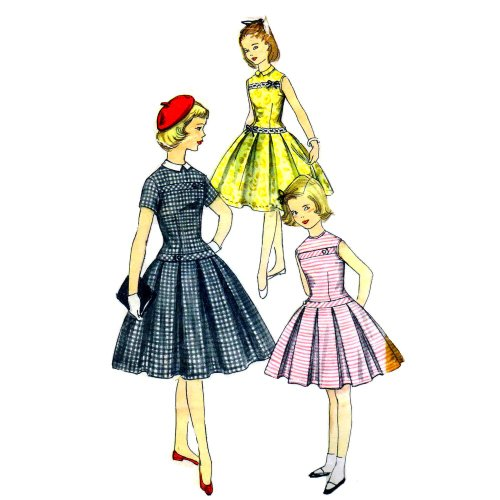 (1950s Girls Drop Waist Pleated Dress Simplicity 1496 Vintage Sewing Pattern Check Offers for Size)