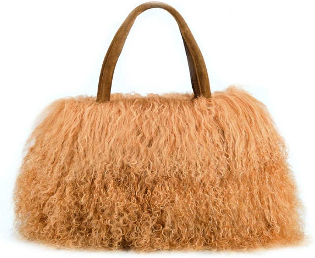 luxury real lamb fur/mongolian fur beach wool fur bag handbag