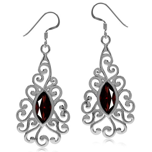 (3.78ct. Natural Garnet White Gold Plated 925 Sterling Silver Victorian Swirl Dangle Earrings)