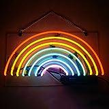Mugua 'Rainbow ' Neon Signs Real Glass Handmade Shaped Night Light Wall Decor for Chistmas,Birthday Party,Kids Room, Living Room, Wedding Party Decor 13.5''x7.5''(Rainbow)