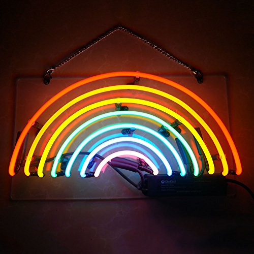 Mugua 'Rainbow ' Neon Signs Real Glass Handmade Shaped Night Light Wall Decor for Chistmas,Birthday Party,Kids Room, Living Room, Wedding Party Decor 13.5