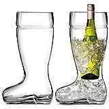 Circleware Das Boot Set of 2 Huge 1 Liter Glass Beer Mugs/glasses Oktober Fest Style, Limited Edition Glassware Serveware Drinkware Barware