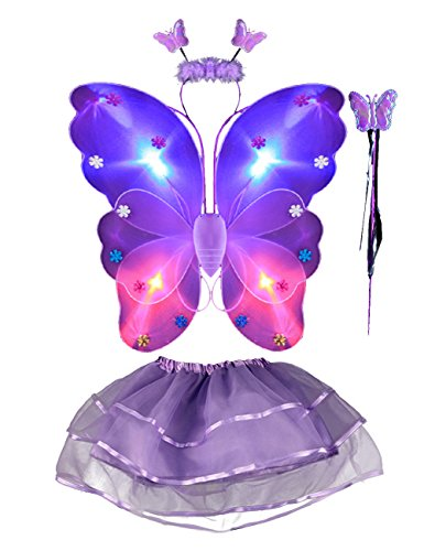 THEE 4pcs Girls LED Butterfly Wing (Purple Butterfly Fairy Costume)