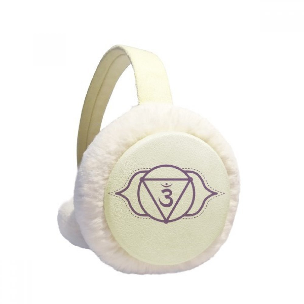 OM Buddhism Sanskrit Letter Pattern Winter Earmuffs Ear Warmers Faux Fur Foldable Plush Outdoor Gift