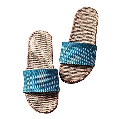 fereshte Unisex Adults Women's Men's Cotton Flax Linen Flat Non-Slip Open-Toe Indoor House Hotel Travel Slippers Sapphire Blue Women xPMBq3