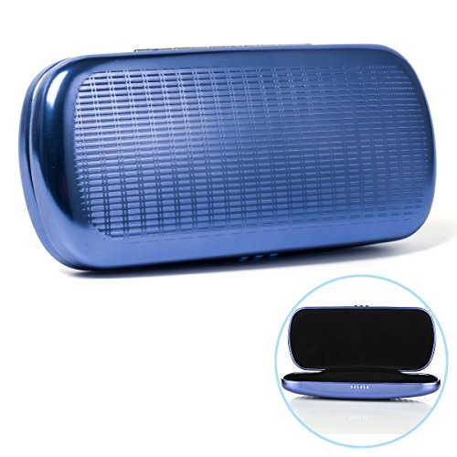 Eyeglasses Case, EZESO Aluminum Hard Shell Striped Blue Spectacles Box For Men Women