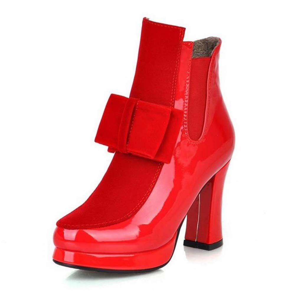 Red Gcanwea Women Patent Leather High Heel Mid Calf Boots Platform Sexy Bowtie Warm Winter Boot Footwear shoes Size 34-43 Joker Sexy Rubber Sole No Grinding Feet Dexterous Dress Red 4 M US Boots