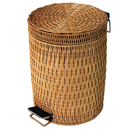 - Bamboo Pedal Trash can,Round Simple Easy to Clean Garbage Can with Lid Home Living Room Bedroom Kitchen Bathroom Natural Paper Basket