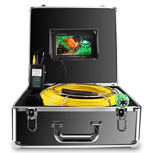 Pipe Inspection Camera,IHBUDS Pipeline Drain Sewer Industrial Endoscope, PC20M Waterproof IP68 20M/65ft Snake Video System with 7 Inch LCD Monitor 1000TVL Sony CCD Camera(No Dvr Function)