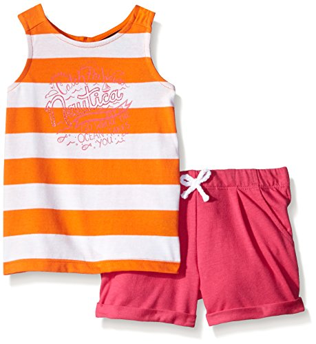 Nautica Girls' Knit Top Paired with Short Set, Orange, 12 Months - Paired Set