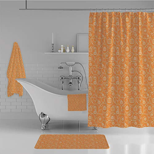iPrint Bathroom 4 Piece Set Shower Curtain Floor mat Bath Towel 3D Print,Leaves and Swirls on Orange Backdrop Halloween,Fashion Personality Customization adds Color to Your Bathroom. -