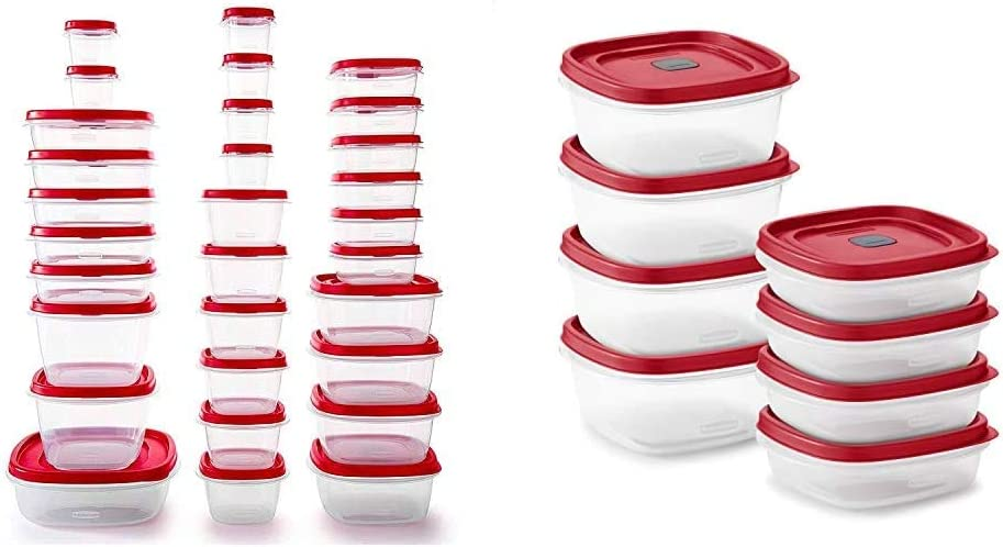 Rubbermaid Food Storage Containers, Set of 30 (60 Pieces Total), Racer Red & Easy Find Vented Lids Food Storage, Set of 8 (16 Pieces Total) Plastic Meal Prep Containers, 8-Pack, Racer Red