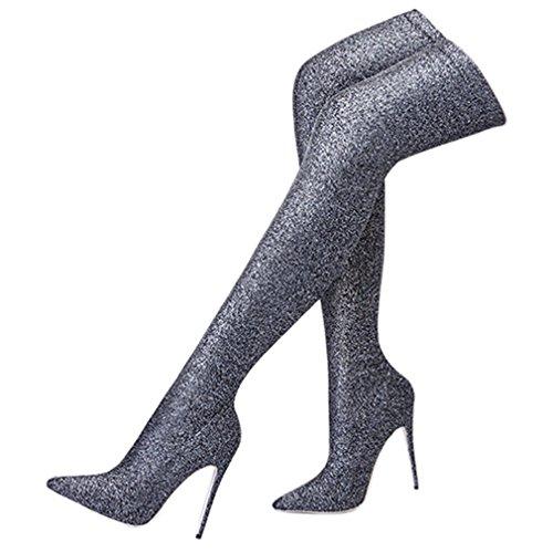 ENMAYER Mujer Sexy Tacones de tacón alto sobre el deslizamiento de botas de rodilla en los zapatos de fiesta Plata