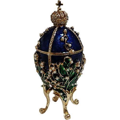 Hand Painted Hinged Top Blue Egg Ornament/Trinket Box Embellished with 24K Gold, (Ornate Hand Painted Porcelain)