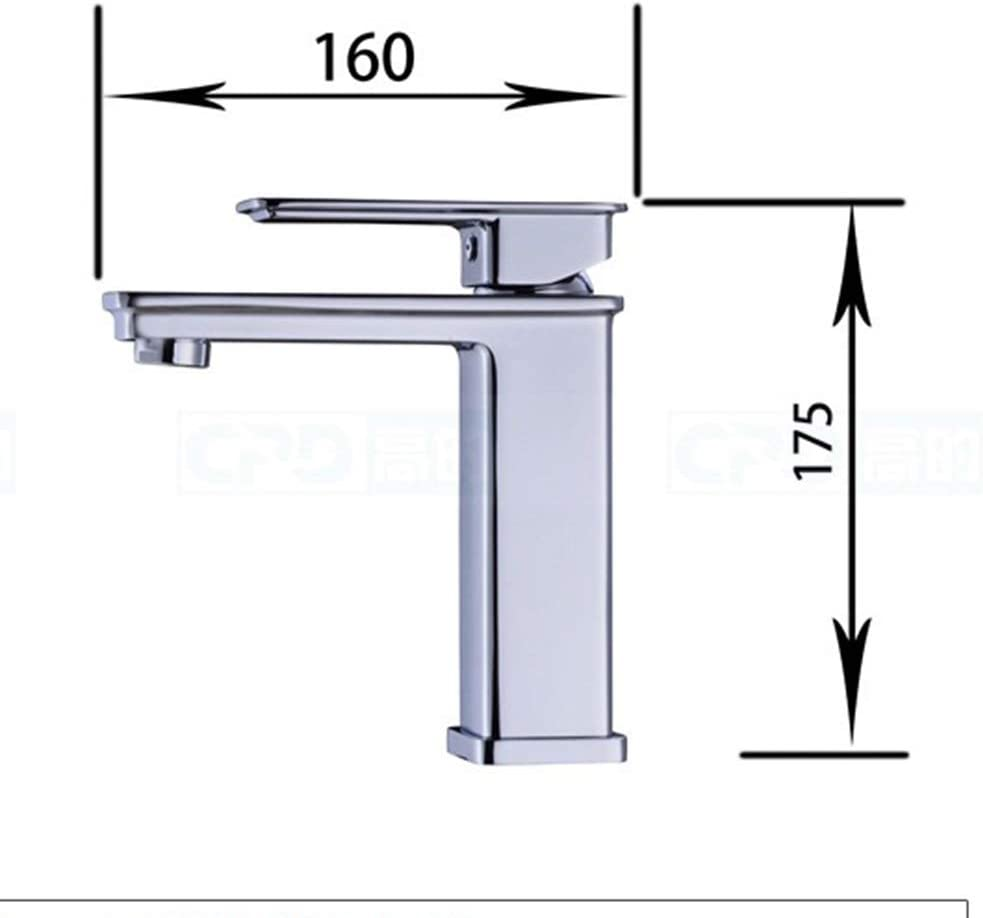 HYH Hotel Apartment Project Bathroom Basin Single Hole Hot and Cold Water-Saving All-Plating Basin Faucet Mixing Valve 17.5 16CM A Beautiful Life