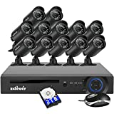 Zclever 16 Channel Security Camera System, 16 Channel Hybrid DVR Recorder with Hard Drive 2TB and 12 x 720p Surveillance Bullet Camera Outdoor Indoor with Day Night Vision