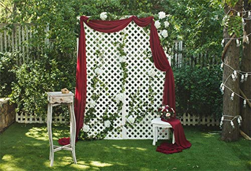 CSFOTO 10x7ft Background White Screen with Red Curtain White Flower in Garden Photography Backdrop Beautiful Flower Bouquet Outdoors Wedding Ceremony Marriage Photo Studio Props Vinyl - Fountain Factory Rose
