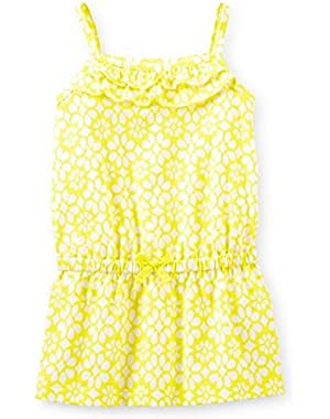 Spaghetti Strap Ruffle Yellow Print Pullover Infant Toddler (12 Months)