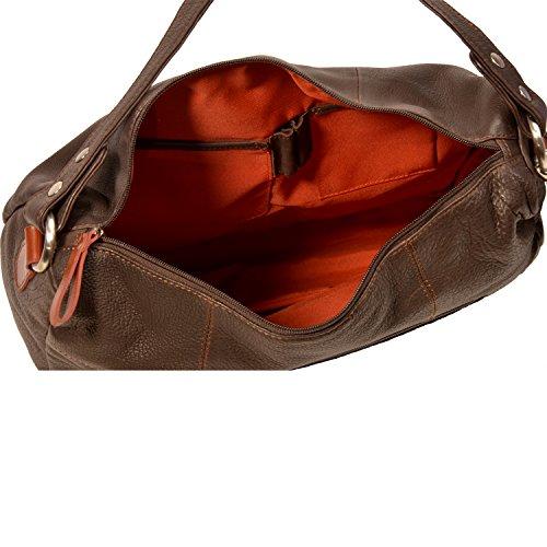 Bag Fettgegerbtes In Marrone Pieno Mucca Donna Oversize Pelle Morbida SSwaH