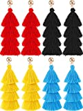 Hestya 4 Pairs Tassel Earrings Handmade 4 Layers Elegant Tassel Drop Earrings for Women Girls Accessories (Black, Blue, Red and Yellow)