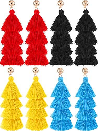 Hestya 4 Pairs Tassel Earrings Handmade 4 Layers Elegant Tassel Drop Earrings for Women Girls Accessories (Black, Blue, Red and Yellow)