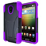 LG Lucid 3 Case, StarShop™ LG Lucid 3 VS876 Premium Durable Rugged Shell Hybrid Protective Phone Case Cover with Built in Kickstand Purple
