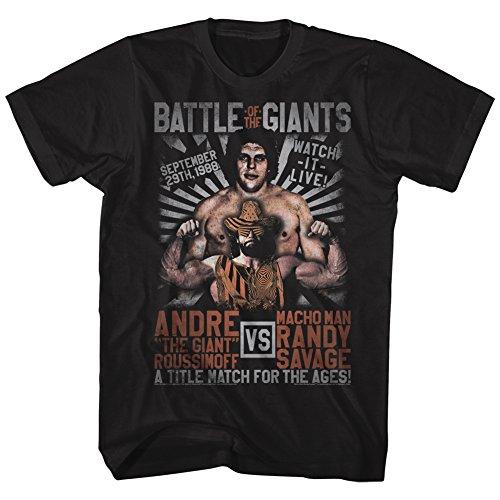 American Classics Andre The Giant Versus Match Adult Short Sleeve T-Shirt, Black XXLarge