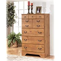 Bittersweet B219-46 34 5-Drawer Chest with Replicated Pine Grain Details Decorative Hardware and Side Roller Glides in Light Brown