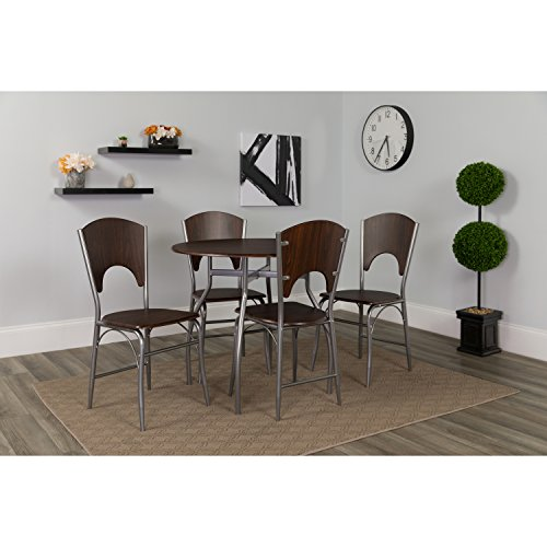 - Flash Furniture Hudson 5 Piece Walnut Finish Dinette Set with Chairs