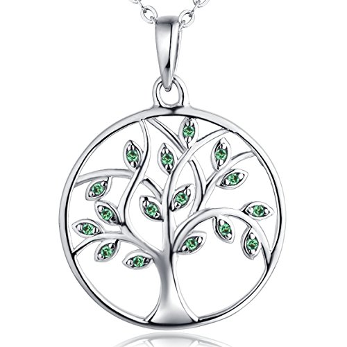 Leaf Emerald Stone - YL Tree of Life Necklace 925 Sterling Silver Gemstone Round Pendant Grenn Created Emerald Family Giving Jewelry