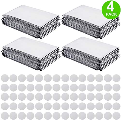 Pack of 4 High Silver Reflective Mylar Film Foil Sheet for Garden Greenhouse Covering Plant Growth, Effectively Increase Plants Growth, 70 Pieces Double Sided Foam Pads (210 x 130 cm) (Grow Reflector Foil)