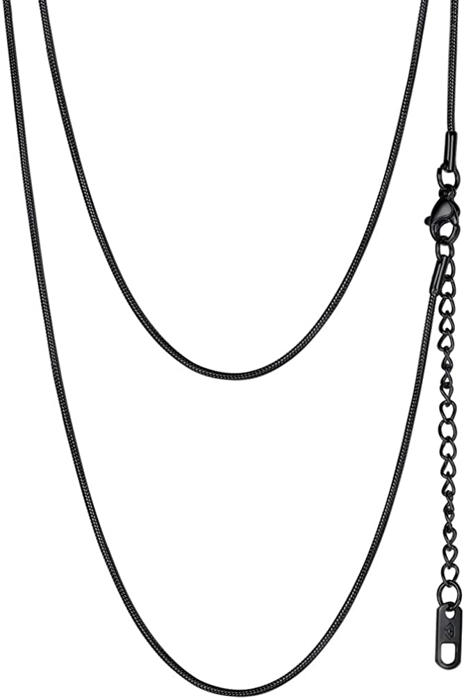 PROSTEEL 316L Stainless Steel Snake Chain, Black/Rose Gold/18K Yellow Gold Plated, 1.2mm Thin Slim Necklace, DIY Charms Chain, Personalized Gift, L: 18''-30''+2'' Extending Chain